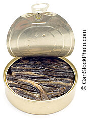 canned fish - series object on white - food - canned fish