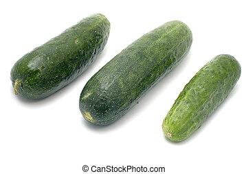 Three cucumbers - series object on white food - Three ...