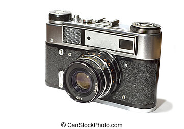 reflex camera - series object on white: isolated - Old...