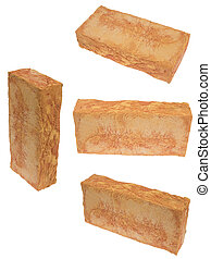 Series of bricks, isolated on background