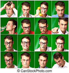 Series Of Expressive Man On Green Background