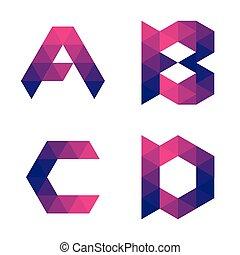 Series of geometric letters a, b, c, d