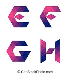 Series of geometric letters e, f, g, h