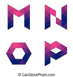 Series of geometric letters m, n, o, p