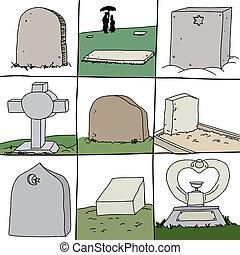 Series of Grave Stones - Series of gravestones for secular...