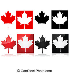 Series of icons depicting the Canadian maple leaf and red and white or black and white