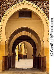 Series of Moorish style curving arches of passageway into...