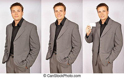 Series of photos with businessman