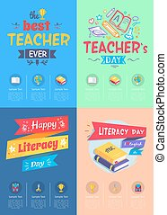 Series of Posters Teachers Day Vector Illustration - Series...