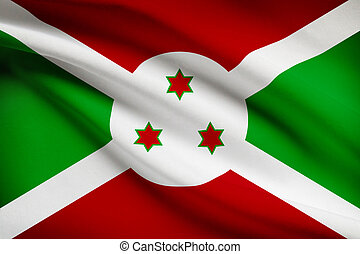 Series of ruffled flags. Burundi.