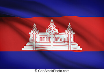 Series of ruffled flags. Cambodia.