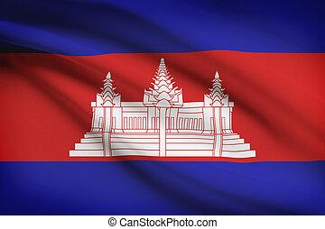 Series of ruffled flags. Cambodia.