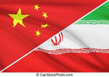 Series of ruffled flags. China and Islamic Republic of Iran.
