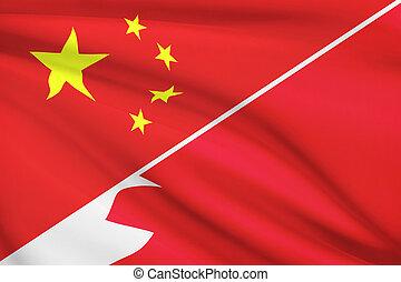 Series of ruffled flags. China and Kingdom of Bahrain.