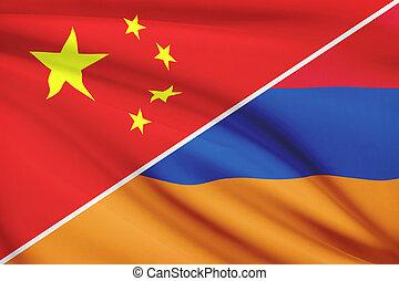 Series of ruffled flags. China and Republic of Armenia.