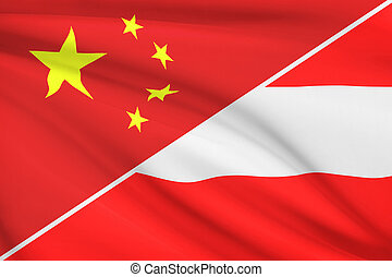 Series of ruffled flags. China and Republic of Austria.