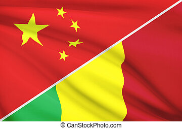 Series of ruffled flags. China and Republic of Mali.
