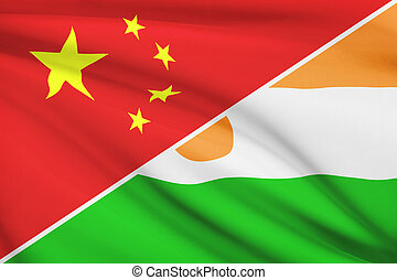 Series of ruffled flags. China and Republic of Niger.