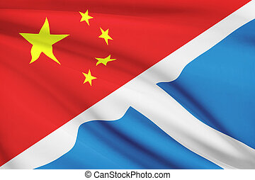 Series of ruffled flags. China and Scotland. - Flags of...
