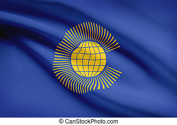 Series of ruffled flags. Commonwealth of Nations.