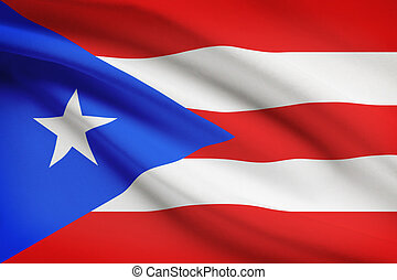 Series of ruffled flags. Commonwealth of Puerto Rico. - ...