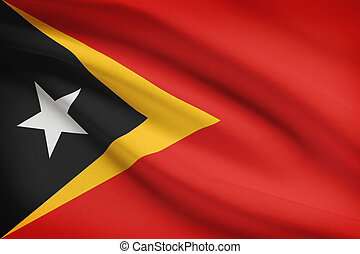 Series of ruffled flags. Democratic Republic of Timor-Leste....