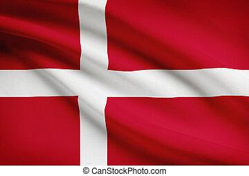 Series of ruffled flags. Kingdom of Denmark.