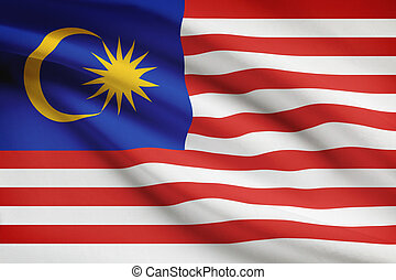 Series of ruffled flags. Malaysia.