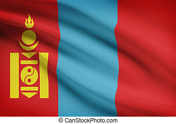 Series of ruffled flags. Mongolia.