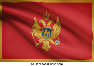 Series of ruffled flags. Montenegro. - Montenegrin flag...