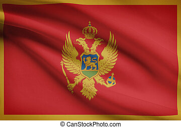 Series of ruffled flags. Montenegro. - Montenegrin flag...