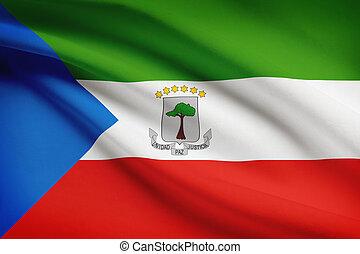 Series of ruffled flags. Republic of Equatorial Guinea. - ...