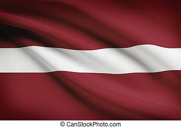Series of ruffled flags. Republic of Latvia. - Latvian flag ...