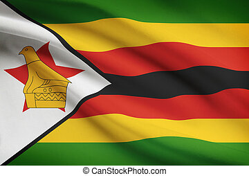 Series of ruffled flags. Republic of Zimbabwe. - Zimbabwean ...