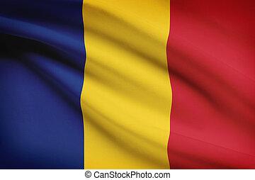 Series of ruffled flags. Romania.