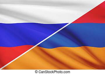 Series of ruffled flags. Russia and Armenia.