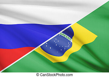 Series of ruffled flags. Russia and Brazil.