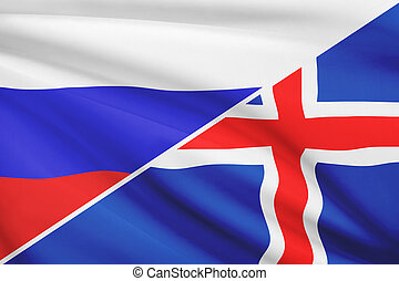 Series of ruffled flags. Russia and Iceland.