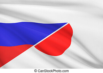 Series of ruffled flags. Russia and Japan.