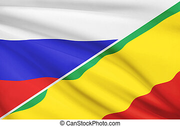 Series of ruffled flags. Russia and Republic of the Congo. -...