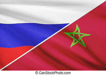 Series of ruffled flags. Russia and Kingdom of Morocco.