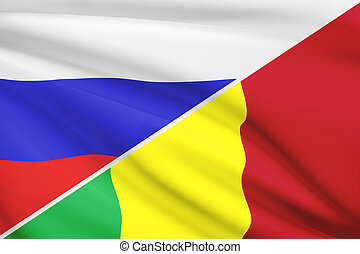 Series of ruffled flags. Russia and Republic of Mali.