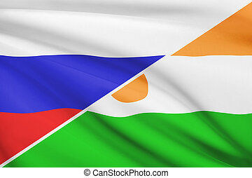 Series of ruffled flags. Russia and Republic of Niger.