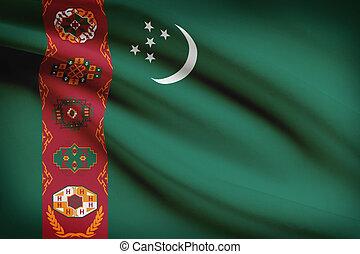 Series of ruffled flags. Turkmenistan.
