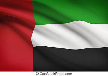Series of ruffled flags. United Arab Emirates.