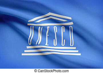 Series of ruffled flags. United Nations Educational, Scientific and Cultural Organization. UNESCO.