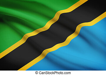 Tanzanian flag blowing in the wind. Part of a series.