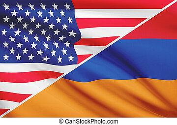 Series of ruffled flags. USA and Armenia.