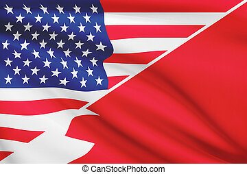 Series of ruffled flags. USA and Bahrain.