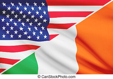 Series of ruffled flags. USA and Ireland.